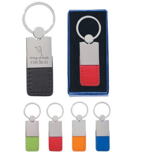 Promotion Metal Leather Key Chain with Laser Engrave Logo (F3006C) pictures & photos