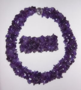 Semi Precious Stone Natural Crystal Amethyst Chips Beaded Necklace Jewelry Sets pictures & photos