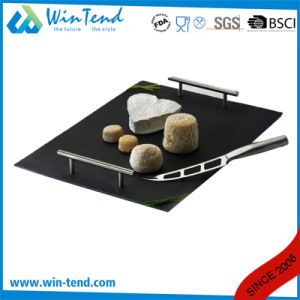Black Slate Tray Display with Stainless Steel Handle pictures & photos