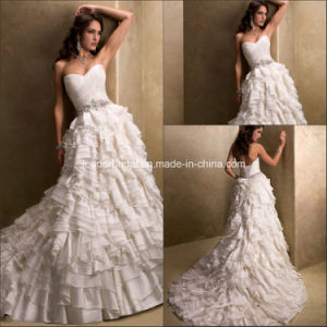 New Strapless Backless Beading Sashes Cascading Ruffles Wedding Dress Yao85 pictures & photos