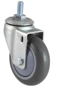 Threaded Stem PU Caster with Side Brake (Gray) pictures & photos