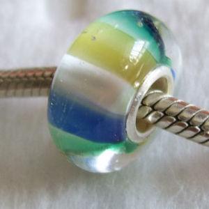 Silver Core Handmade Lampwork Glass Bead