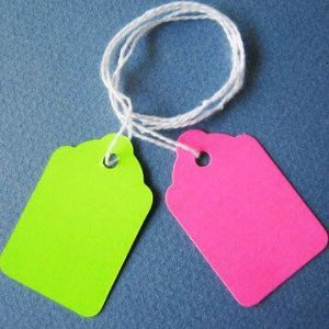 Blank Merchandise Tags in Colors, Pre-Rung or Un-Strung