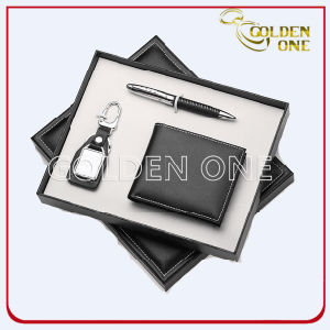 Promotional Click Pen Keychain & PU Wallet Gift Set pictures & photos