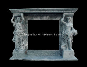Green Marble Statuary Fireplace (XF407) pictures & photos