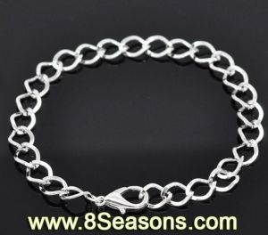 "Silver Plated Lobster Clasp Link Chain Bracelets 20cm (7-7/8"")"