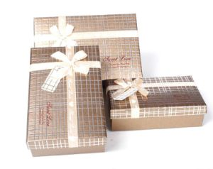 Plaid pattern brown gift box