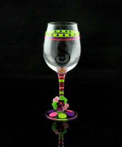 Handpainted Wine Glasses, Handmade Colorful Glassware