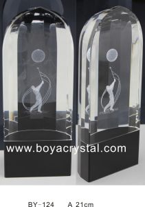 Hot Sale Unique Crystal Laser Trophy for Promtional Event (BY-124)