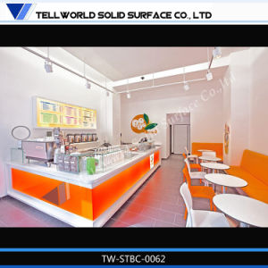 Solid Surface LED Lighting Modern Straight Bar Counter for Coffee Shop pictures & photos