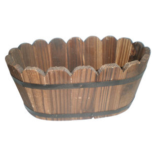 Oval Wooden Barrel Flower Pot pictures & photos