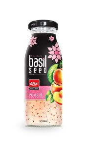 200ml Glass Bottle Peach Flavor Basil Seed Drink pictures & photos