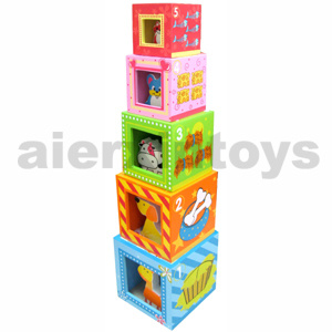 Wooden Nesting Blocks with Farm Animals (80967-1) pictures & photos