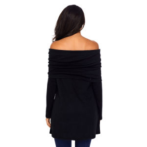 Fashion Women Ladies Black Ruched off Shoulder Long Sleeve Top pictures & photos
