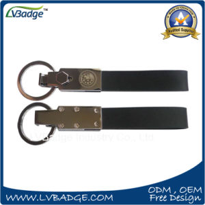 High Quality Black Leather Key Chain with Metal Ring pictures & photos