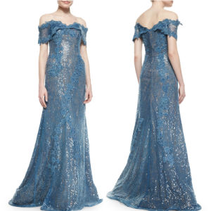 off Shoulder Prom Party Dress Blue Lace Evening Dress T92624 pictures & photos