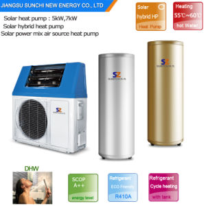 Top10 Save 80% Energy Outlet 60deg. C Hot Water 5kw, 7kw, 9kw 220V Cop5.32 Solar Shower Water Heater Pump Hybrid Air Source Heating pictures & photos