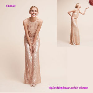 a Bit Different for Adorned Sequins Elegant Evening Dress with High Neck and Sweeping Skirt Lend Loads of Romance and Femininity pictures & photos