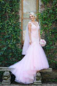 Mermaid Wedding Dress Pink Tulle Lace Beaded Beach Bridal Gown W15238 pictures & photos