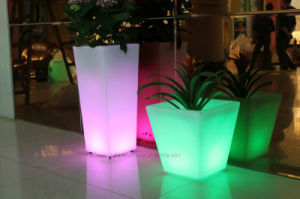 Garden Furniture Rechargeable Square Colorful LED Plant Pot pictures & photos
