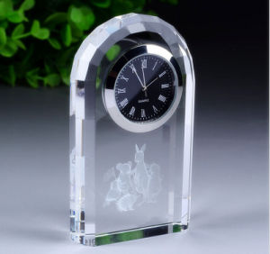Customized Logo Business Gift Decoration Crystal Clock pictures & photos