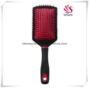 Colorful Paddle Cushion Hairbrush with Black Rubber Coating
