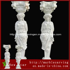 Decorative Stone Lady White Marble Statue Column pictures & photos