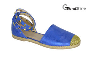 Women′s Comfort Ankle Strap Espadrille Flat Sandal pictures & photos