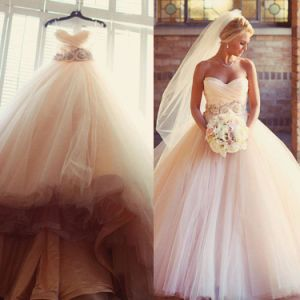 Blush Pink Bridal Ball Gown Strapless Wedding Dresses Ld32 pictures & photos