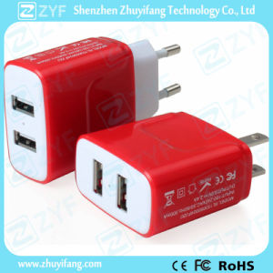 Red Dual USB Outlet 5V/2.4A Charger Adapter (ZYF9007) pictures & photos