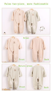 Organic Colored Cotton Long Sleeves Baby Romper pictures & photos
