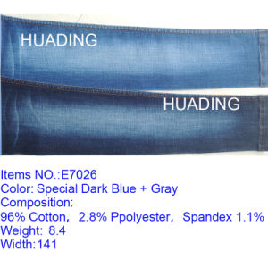 High Elasticity Special Dark Blue Denim Jeans Fabric (E7026) pictures & photos