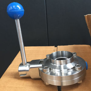 SMS 51 316L Ss Welding Butterfly Valve with 4 Positions Handle pictures & photos