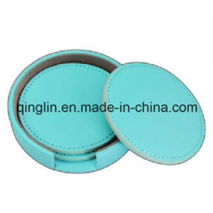 Custom Blue Round Shape PU Leather Coaster (QL-BD-0006) pictures & photos