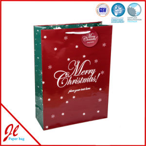 Red Socks Hot Stamping Latest Paper Shopping Bags for Christmas Holiday pictures & photos