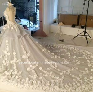Sleeves Bridal Ball Gowns Custom Made Real Photos Silver Flora Wedding Gown 2017 Gl1728 pictures & photos