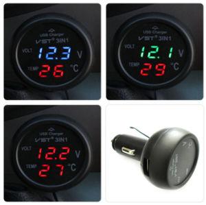 3 in 1 Digital LED Car Voltmeter Thermometer Auto Car Cigarette Lighter USB Charger 12V/24V Temperature Meter Voltmeter pictures & photos
