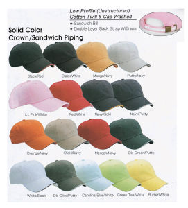 Promotion Blank Baseball Cap / Golf Cap with Sandwich and Brass Buckle & Grommet pictures & photos