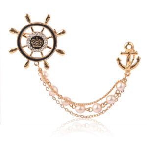 VAGULA Pirate Ship Rudder Ship Anchor Gold Plated Pearl Brooch pictures & photos
