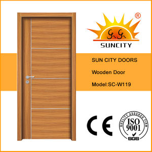 Soundproof Solid Wood Main Door Interior Factory Price (SC-W119) pictures & photos