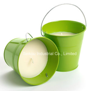 Color Painted Bucket Citronella Candle with Handle (SK8090)