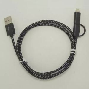 2 in 1 Braided USB Cable for iPhone and Android pictures & photos