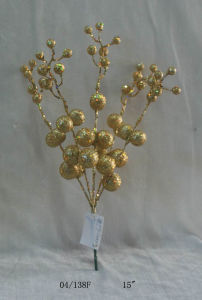 15′′ New Golden Glight Plastic Ball Cuttings Twig for Christmas Decoration