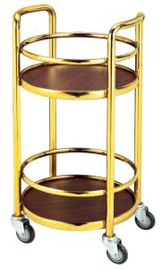 Two-Layer Round Stainless Steel Liquor Trolley for Restaurant (C-88) pictures & photos