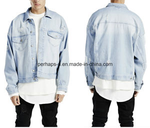 High Quality Washed Blue Retro and Ripped Mens Denim Jacket pictures & photos