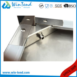 Stainless Steel Round Tube Shelf Reinforced Robust Construction Work Table with Storage Layer with Height Adjustable Leg for Sale pictures & photos