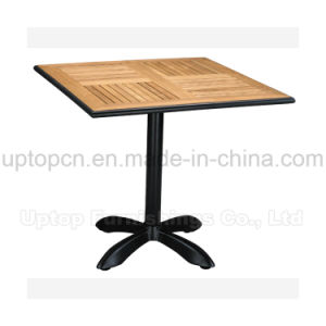 Square Outdoor Restaurant Solid Wood Tables with Aluminum Steel Edge (SP-AT327) pictures & photos