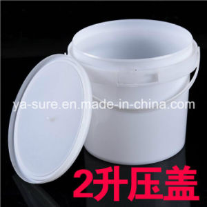 2L White Round Food Grade Plastic Bucket with Handle pictures & photos
