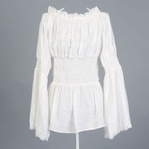 European America Style Bank White Long Sleeve Blouse Lace Top pictures & photos