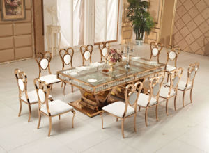 Luxury Rose Golden Crystcal Wedding Table with Heart Shape Base pictures & photos